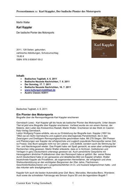 Karl Kappler - Casimir Katz Verlag