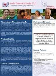 About Ausio Pharmaceuticals Product Profile Clinical Development ...