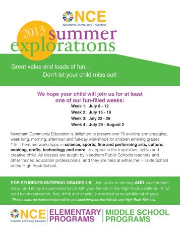 Summer Explorations - Needham Public Schools