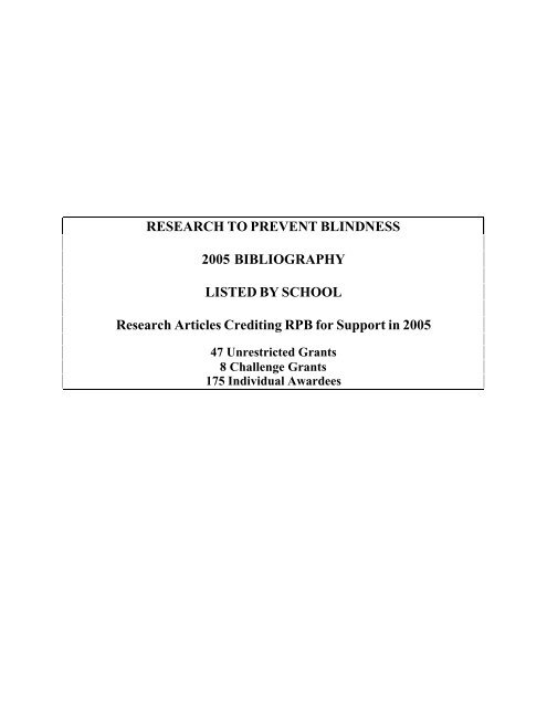 Research To Prevent Blindness 2005 Bibliography