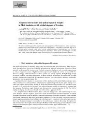 Magnetic interactions and optical spectral weights - Max Planck ...