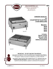 Owner's Manual - Burkett Restaurant Equipment