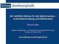 Thorsten Müller, Der rechtliche Rahmen für den Speicherausbau