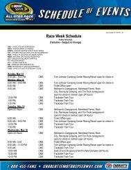 Race Week Schedule - Charlotte Motor Speedway