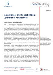 Inclusiveness and Peacebuilding: Operational ... - GPPlatform