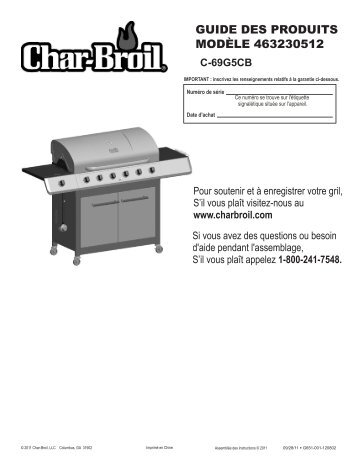 GUIDE DES PRODUITS MODÈLE 463230512 - Char-Broil Grills