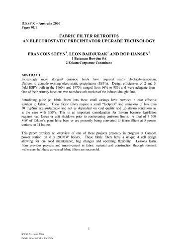 fabric filter retrofits an electrostatic precipitator upgrade ... - isesp