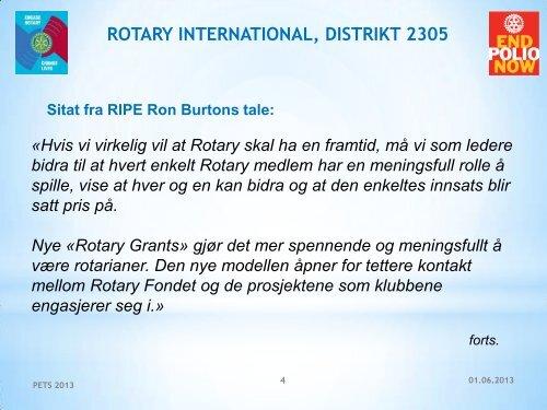 Hilsen fra Ron Burton - Distrikt 2305