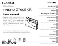 FINEPIX Z700EXR Owner's Manual - Fujifilm