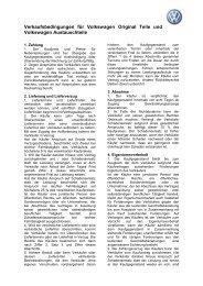 Verkaufsbedingungen für Volkswagen Original Teile und ... - Schmolck