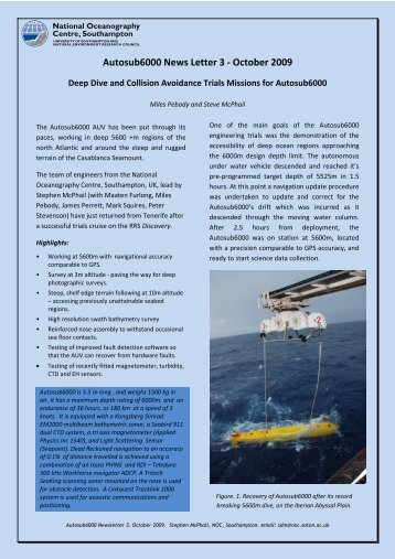 Autosub6000 news 3 - National Oceanography Centre