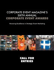 Corporate eVeNt awards Call for eNtries - Exhibitor Magazine