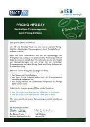 Programm und Anmeldungsformular Pricing Info-Day - ISB AG