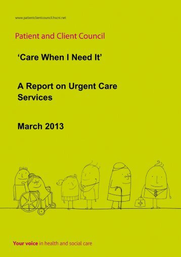 Care When I Need It - Patient and Client Council