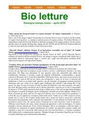 Bio letture - Sistema d'informazione nazionale sull'agricoltura ...