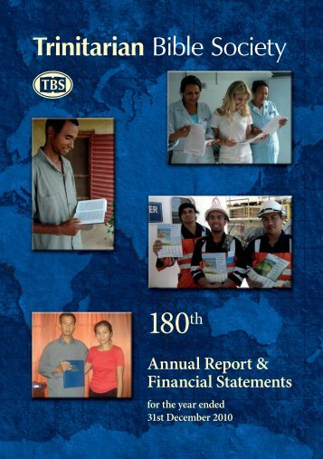 180th Annual Report - Trinitarian Bible Society (Australia)
