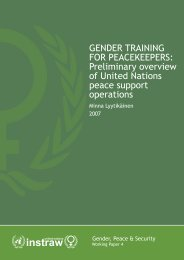 UN Instraw, Gender Training For Peacekeepers - PeaceWomen