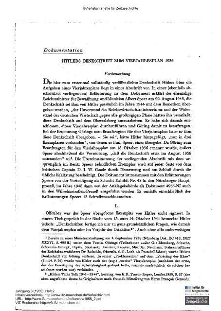 Hitlers Denkschrift zum Vierjahresplan 1936 - Institut für Zeitgeschichte