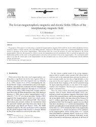 The Jovian magnetospheric magnetic and electric fields: Effects of ...