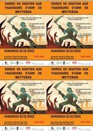 Flyers de la soirée de soutien aux faucheurs OGM du 21/12/2012