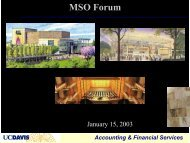 MSO Forum - UCDavis Accounting & Financial Services - UC Davis