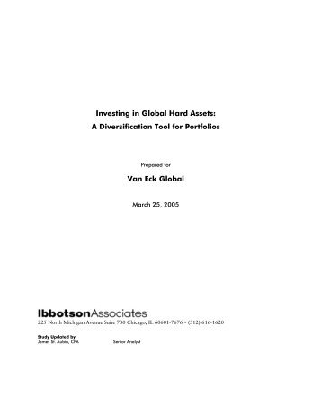 Investing in Global Hard Assets: A Diversification Tool for Portfolios ...