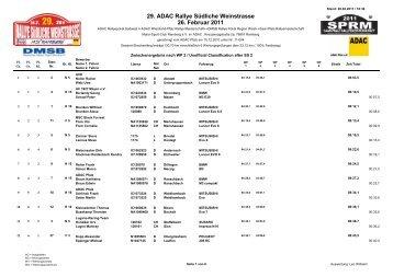 29. ADAC Rallye Südliche Weinstrasse 26. Februar 2011