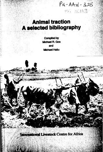 Animal traction A bibliography - usaid