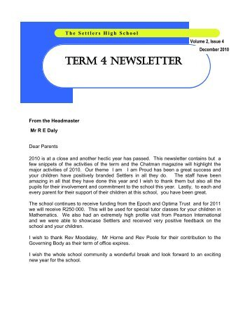 TERM 4 NEWSLETTER - the settlers high school