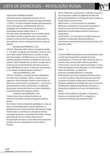 LISTA DE EXERCÍCIOS – REVOLUÇÃO RUSSA