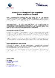 Pôle emploi et Disneyland Paris renouvellent leur partenariat pour l ...