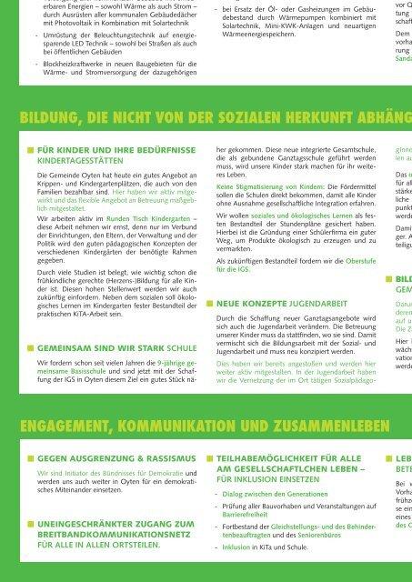 Wahlprogramm Gemeinderat Oyten