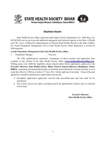 Terms of Reference - STATE HEALTH SOCIETY-----BIHAR