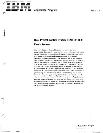 1130 Project Control System - All about the IBM 1130 Computing ...