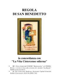 Regola di San Benedetto in concordanza con - OCist