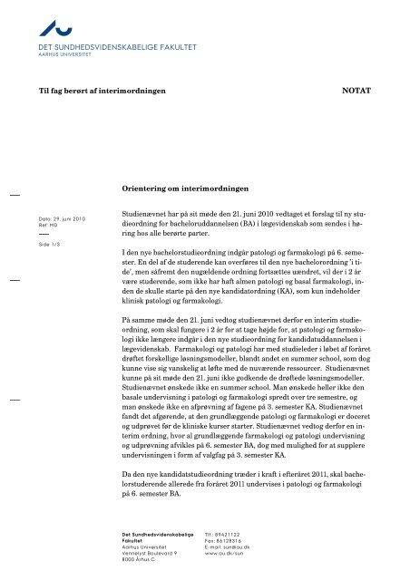 det sundhedsvidenskabelige fakultet notat - Aarhus Universitet