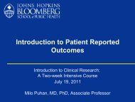 Introduction to Patient Reported Outcomes - The Johns Hopkins ...