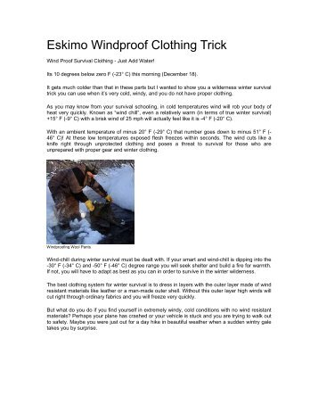 Eskimo Windproof Clothing Trick - Survival-training.info