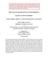season activity report, 2008 - Tall el-Hammam Excavation Project ...