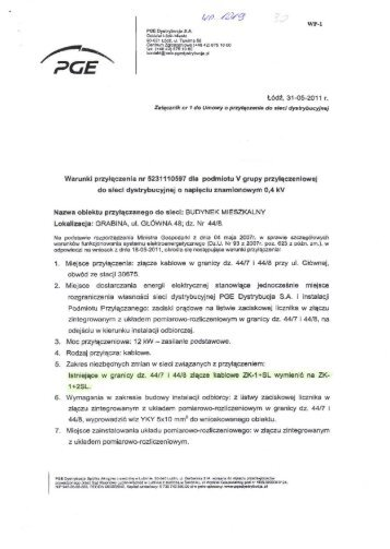 Warunki przyłączenia nr 5231110597 dla ... - PGE Dystrybucja