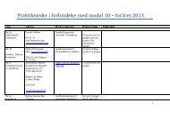 Praktiksteder i forbindelse med modul 10 – foråret 2013