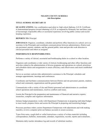 Job Description  Maintenance Technician Iii  Nelson County School