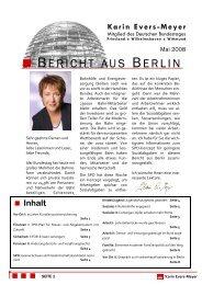 Bericht aus Berlin Mai 2008 - Karin Evers-Meyer