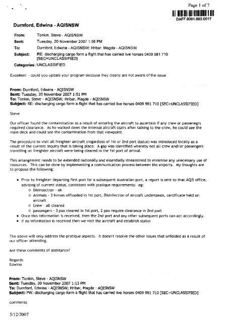Equine Release Form   R Durnford Edwina Aqisnsw Equine Influenza Inquiry
