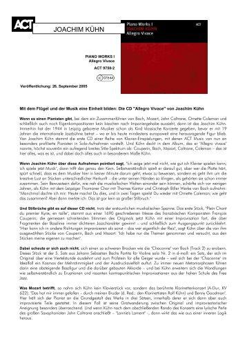 JOACHIM KÜHN - ACT Music + Vision