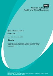 CG43 Obesity: Quick reference guide 2 for the NHS - Playfield Institute