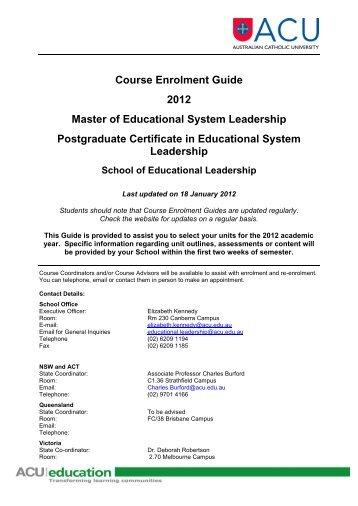 acu course enrolment guide 2018