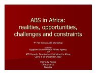 ABS in Africa: realities, opportunities, challenges and constraints