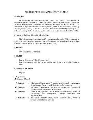 MBA - TNAU Agritech Portal - Tamil Nadu Agricultural University