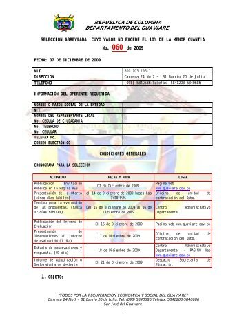REPUBLICA DE COLOMBIA DEPARTAMENTO DEL GUAVIARE ...